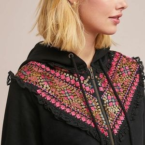 NWT Anthropologie Embroidered Terry Cotton Hoodie